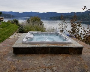 Built-in hot tub installation.