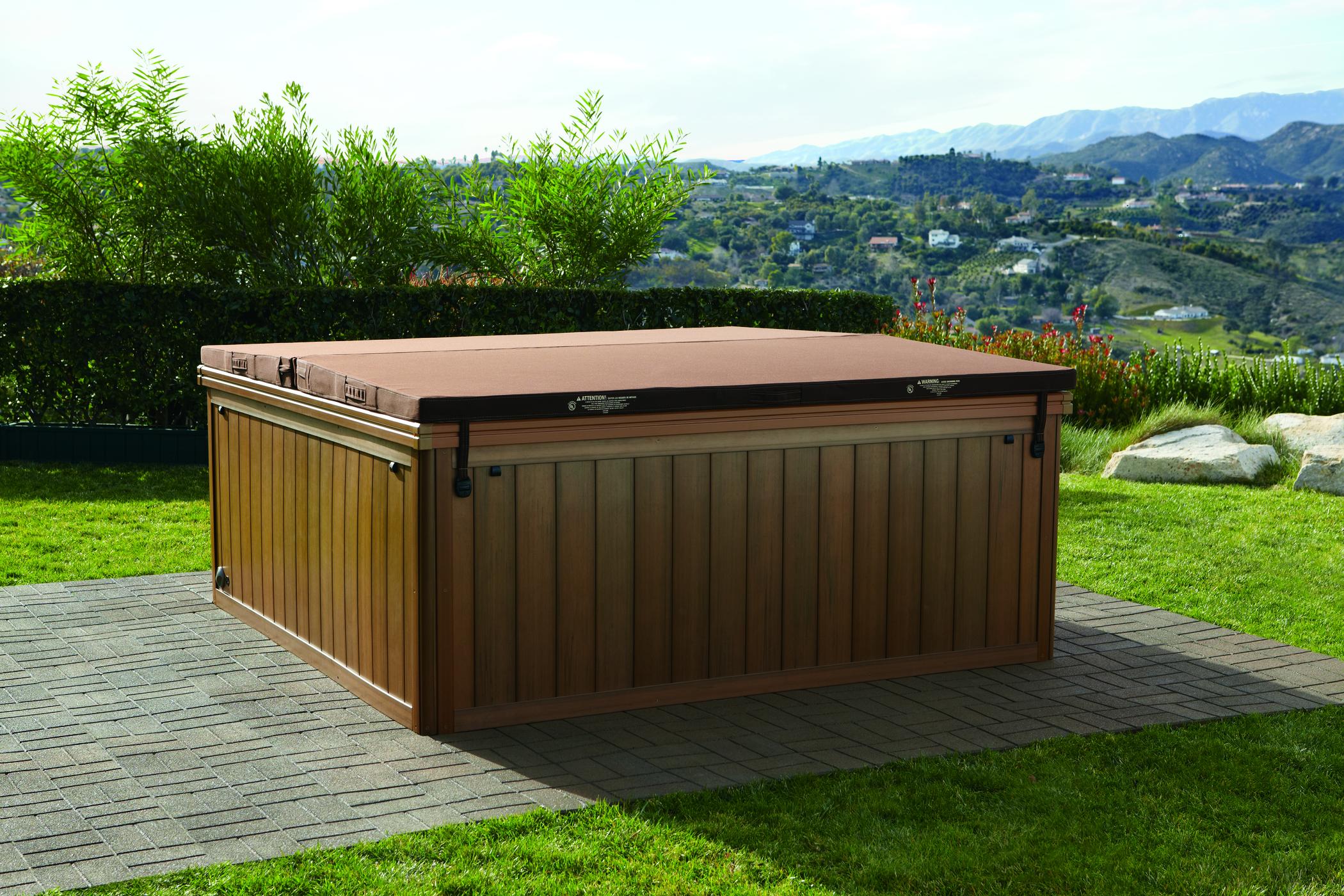 Hot tub cover on a Sundance Spas Brand hot tub.