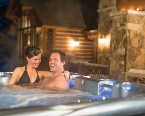 A couple in the hot tub