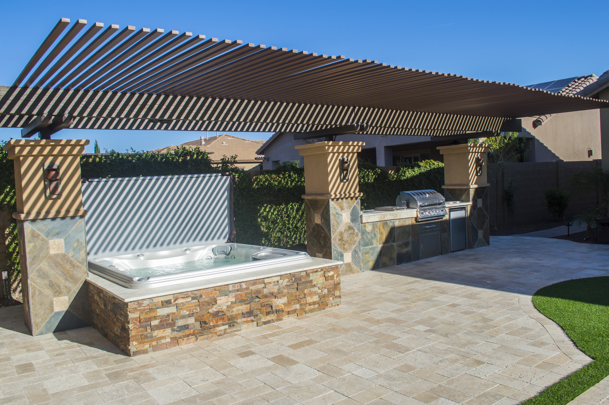 Private outdoor hot tub installation.