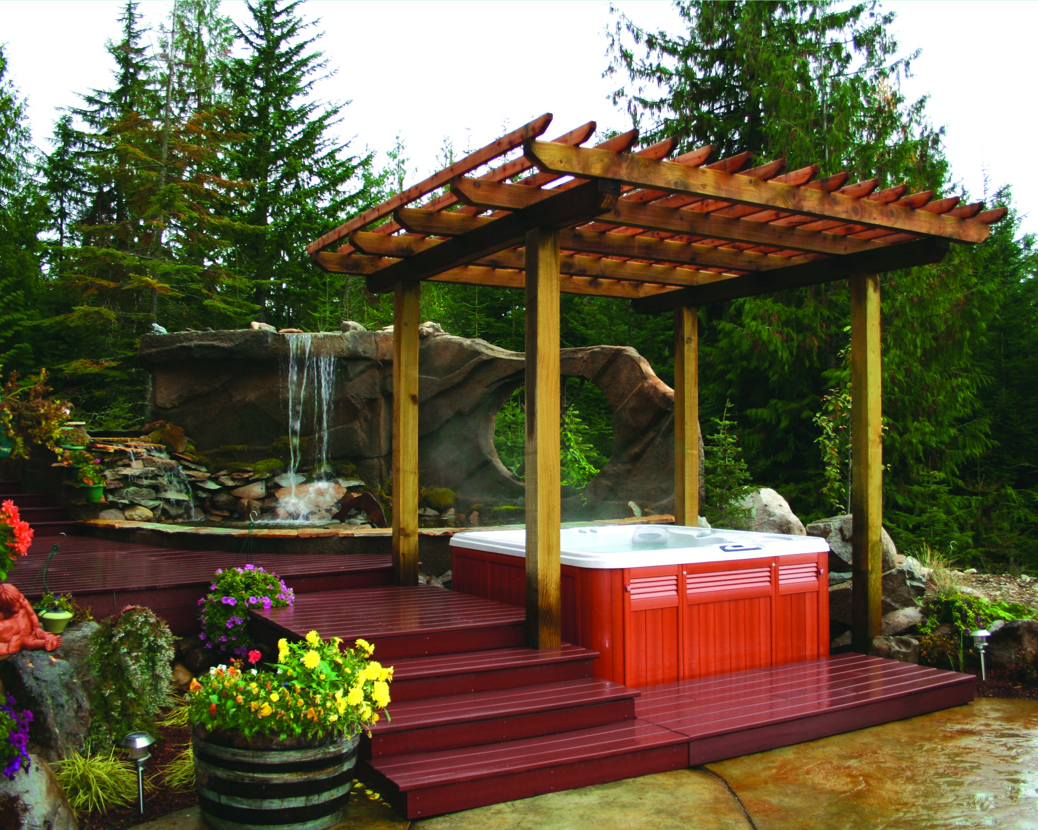 Beautiful outdoor living space with a hot tub.